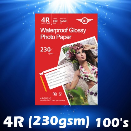IJT 4RGP230 Waterproof Glossy Photo Paper 4 x6 (4R) Size 4x6 230g 230gsm [102mm x 152mm] (Each Pack 100 Sheets)
