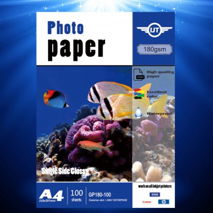 IJT GP180 Waterproof Glossy Photo Paper A4 Size 180g 180gsm (Each Pack 100 Sheets)