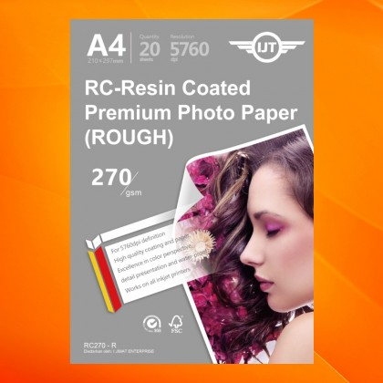 IJT RC-Resin Coated Premium Quality Inkjet RC Photo Paper A4 GLOSSY RC270-G / Rough RC270-S / Satin RC270-R / Woven RC270-W 270gsm 270g 20sheets 20's