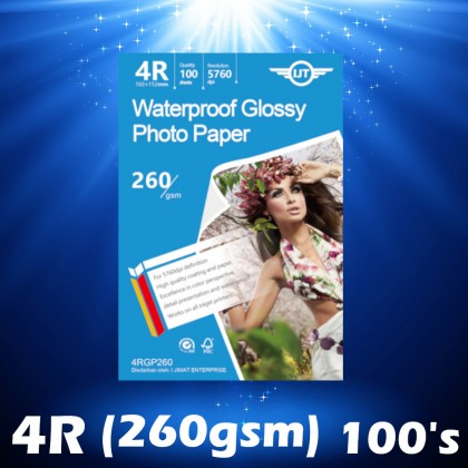 IJT 4RGP260 Waterproof Glossy Photo Paper 4 x6 (4R) Size 4x6 260g 260gsm [102mm x 152mm] (Each Pack 100 Sheets)