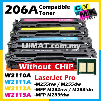 (FULL SET) HP 206A W2110A Black + W2111A Cyan + W2112A Yellow + W2113A Magenta Compatible Colour Laser Toner For HP Color Laserjet Pro M255 M282 M283 MFP M282nw / MFP M283fdw / MFP M283fdn / M255dw / M255nw Printer Ink