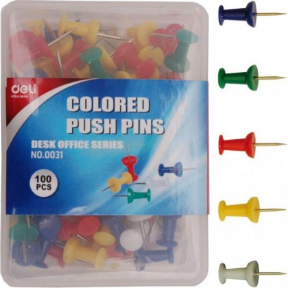 Deli 0031 Colored Push Pins / Map pin  (100pcs/box)