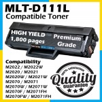 Samsung MLT-D111L / MLT-D111S High Yield Compatible Toner Cartridge (80% More Print) For Samsung Xpress M2022 / M2022W / M2020 / M2021 / Xpress M2020W / M2021W / M2070 / M2071 / M2070W / M2071W / M2070F / M2071FH Printer Toner