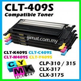 Samsung 409 / CLT-K409S + CLT-C409S + CLT-M409S + CLT-Y409S Compatible High Quality Colour Laser Toner Cartridge (Full Set 4 Units) For Samsung CLP 310 / 310N / 315 / 315W / CLX 3170 / 3175 / 3175N / 3175FN / 3175FW Printer Toner