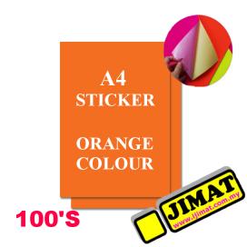 A4 Fluorescent Orange Colour Sticker (100's)