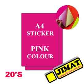 A4 Fluorescent Pink Colour Sticker (20's)