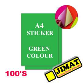 A4 Fluorescent Green Colour Sticker (100's)