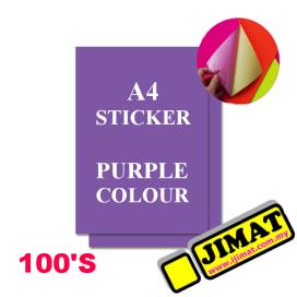 A4 Fluorescent Purple Colour Sticker (100's)