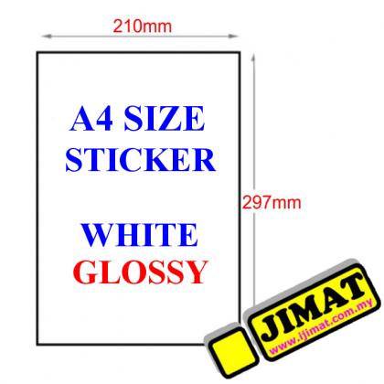 A4 White Mirrorkote Sticker (100's)