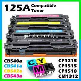 Compatible Colour Laser Toner HP 125A / CB540A Black + CB541A Cyan + CB542A Yellow + CB543A Magenta Full Set Toner Cartridge (1 Set 4 Unit) For CP1215 / CP1515n / CP1518ni / CP1217 / CP1514n / CM1312 mfp / CM1312nfi mfp Printer