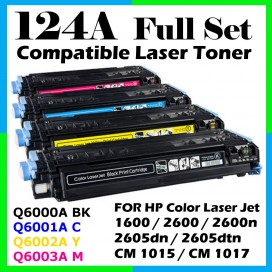 HP 124A / Q6000A + Q60001A + Q6002A + Q6003A Compatible Toner Cartridge (1 Set 4 Units) For HP LaserJet 1600 / 2600n / 2605dn / 2605dtn / CM1015 / CM1017 Printer Toner