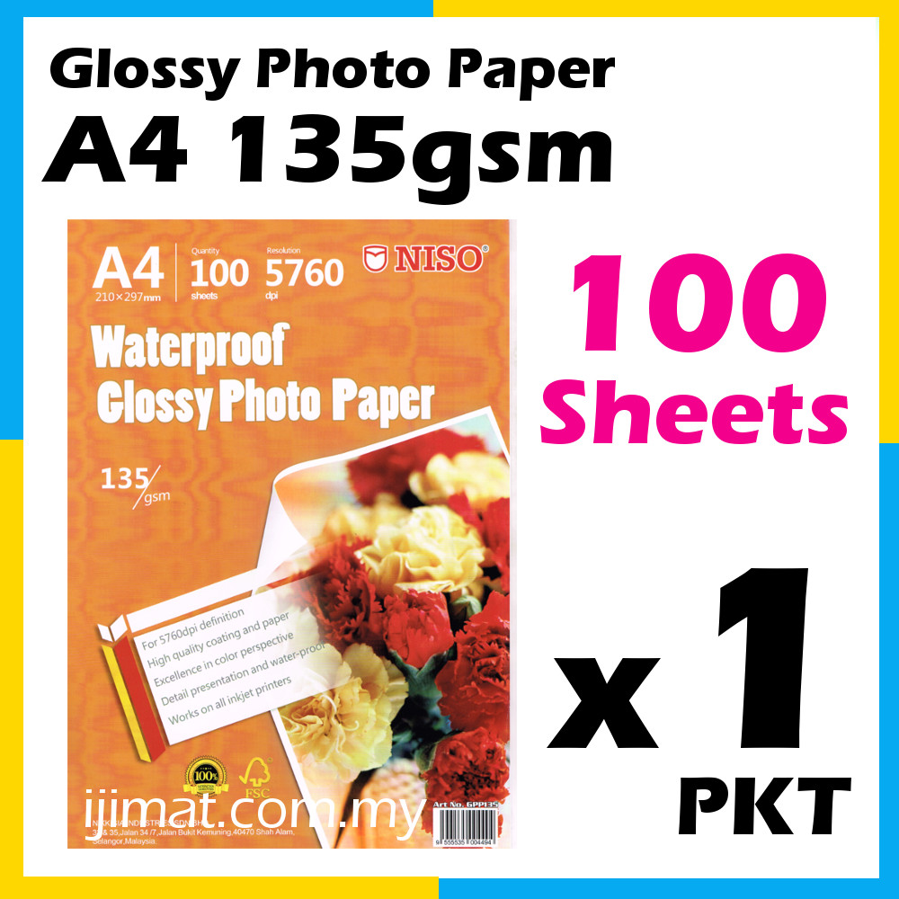 Niso Glossy Photo Paper A4 Size 100 Sheets 135g 100 S
