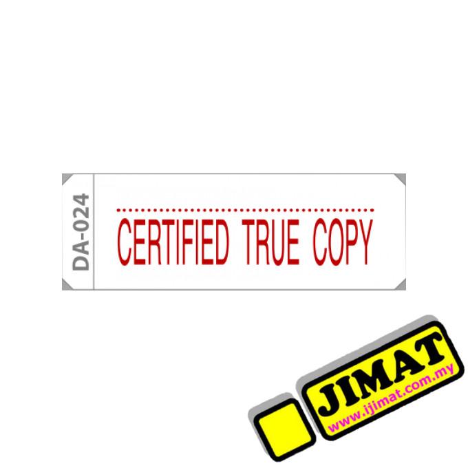 Stock Stamp Da 024 Certified True Copy