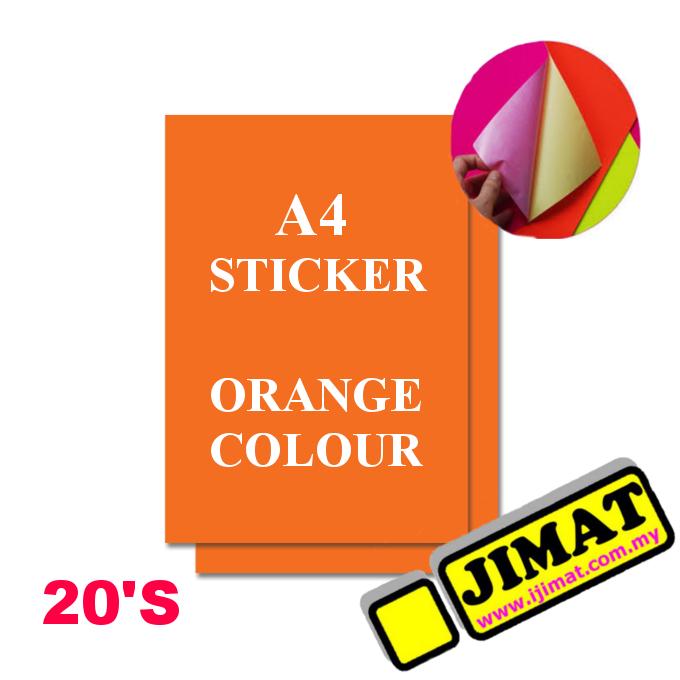 A4 Fluorescent Orange Colour Sticker (20's)